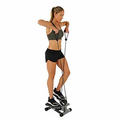 Sunny Health & Fitness NO. 012-S Mini Stepper Step Machine with Resistance Bands and LCD Monitor