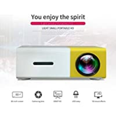 Mini Projector – 400 Lumens Portable Video Projector 1080P Supported 60″ Display, 50,000 Hours Led, Compatible with TV…